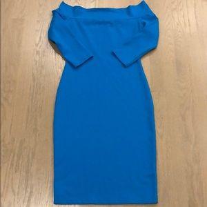 Susana Monaco Turquoise Off Shoulder Dress XS